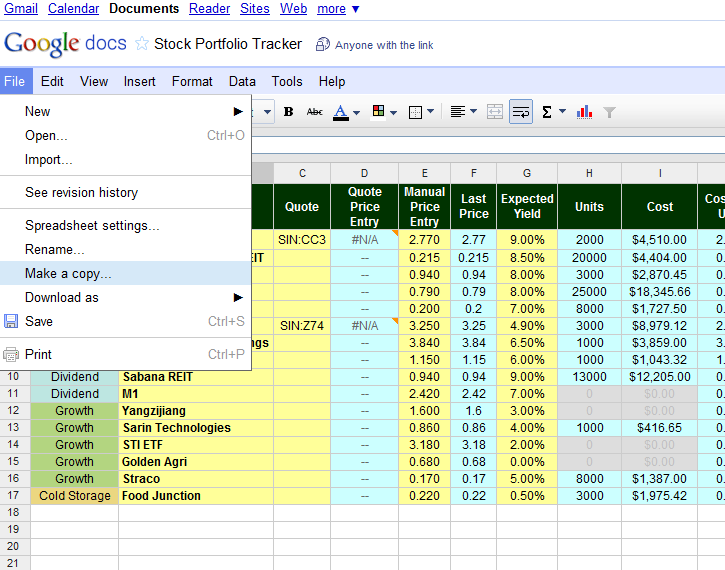 investment tracking spreadsheet