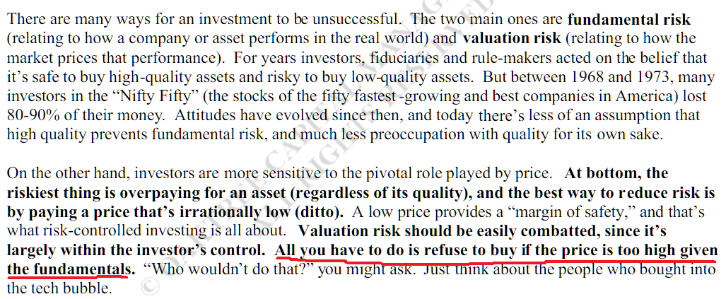 How valuations mitigate risk