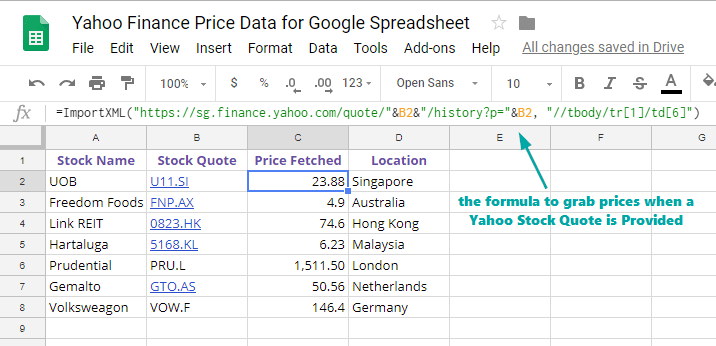 How to Scrape Yahoo Finance Stock Prices using Google Spreadsheet