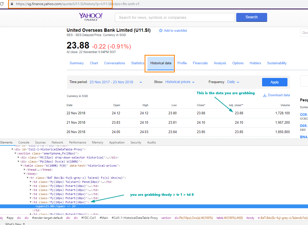 Automatically get Yahoo Finance End of Day Stock Price in your