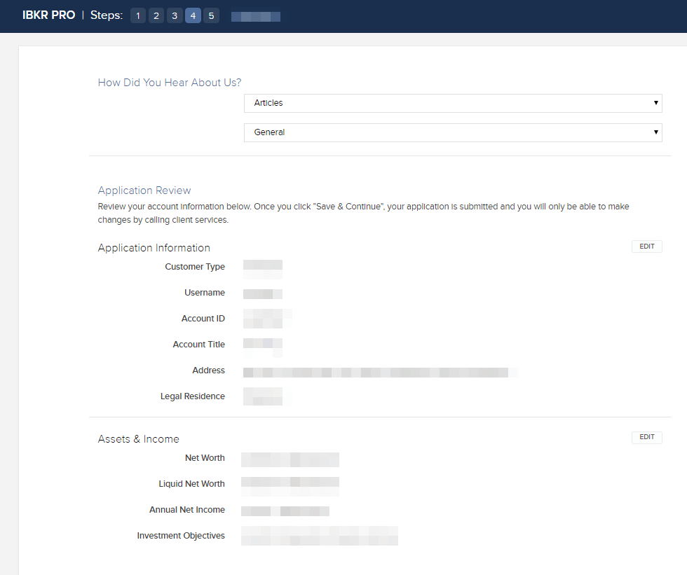application review of IBKR IBSG account opening
