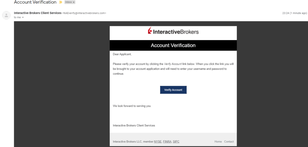 IBKR and IBSG email send to verify your account.