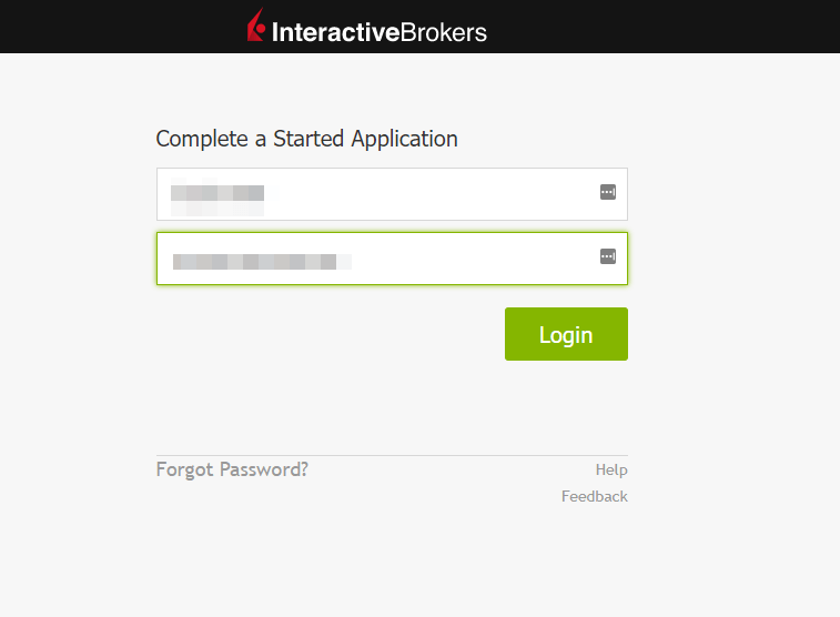 login to IBKR IBSG to continue with the account opening process