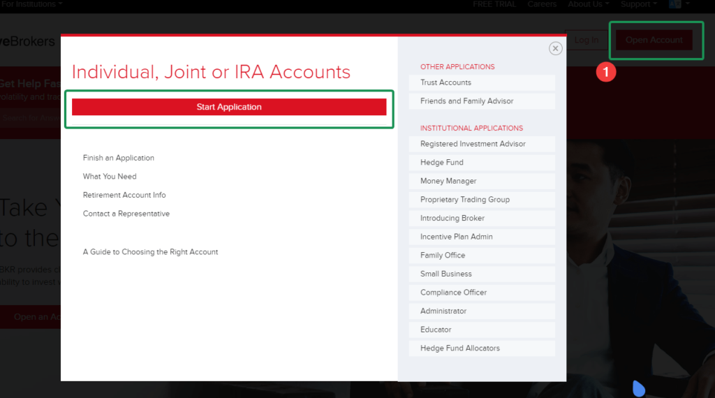 start IBKR or IBSG account application.