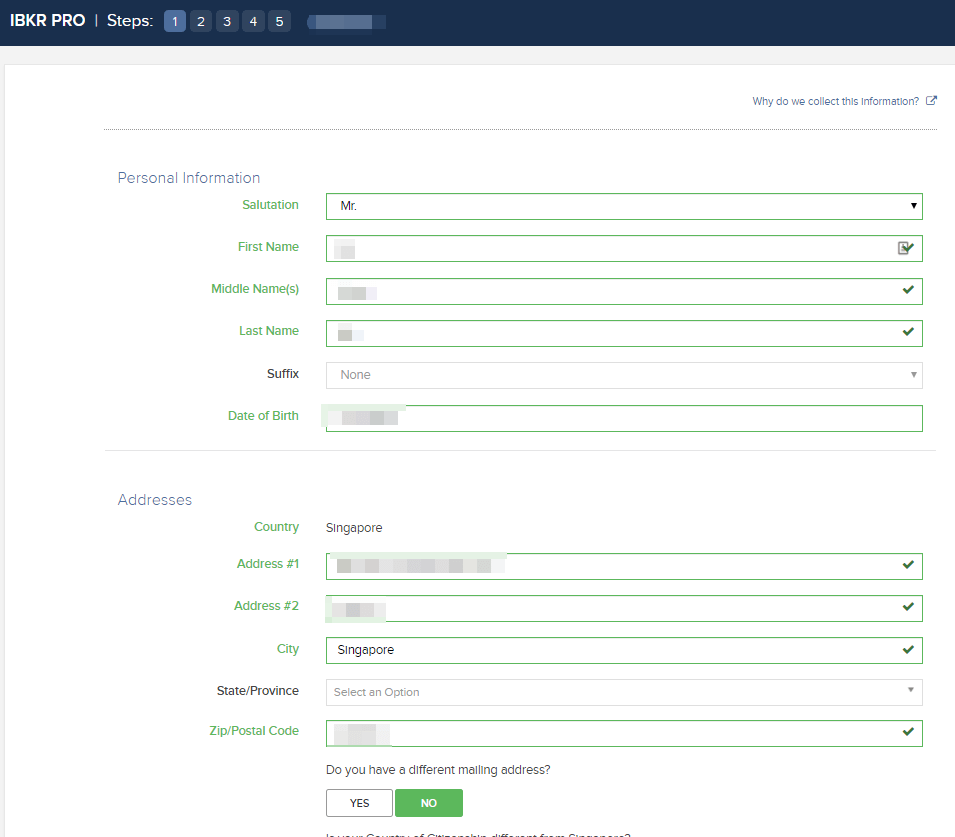 Filling in the personal information and addresses in your IBKR IBSG application.