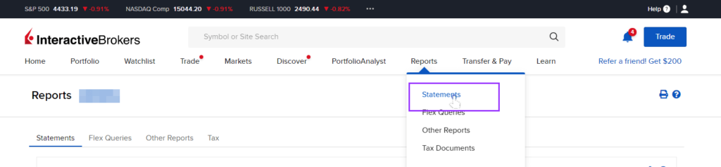 go to interactive brokers reports and statements