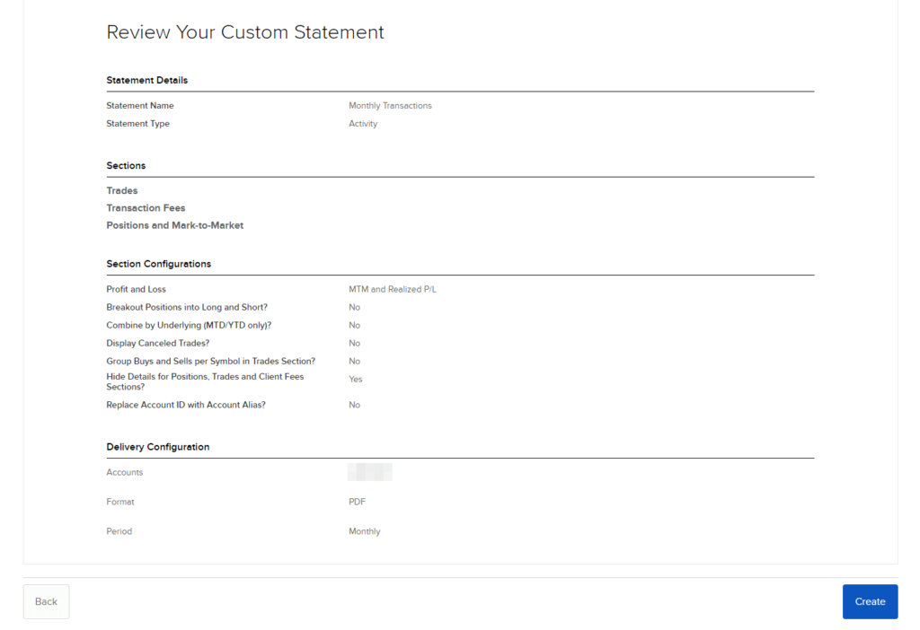 Review the settings for your custom interactive broker statement